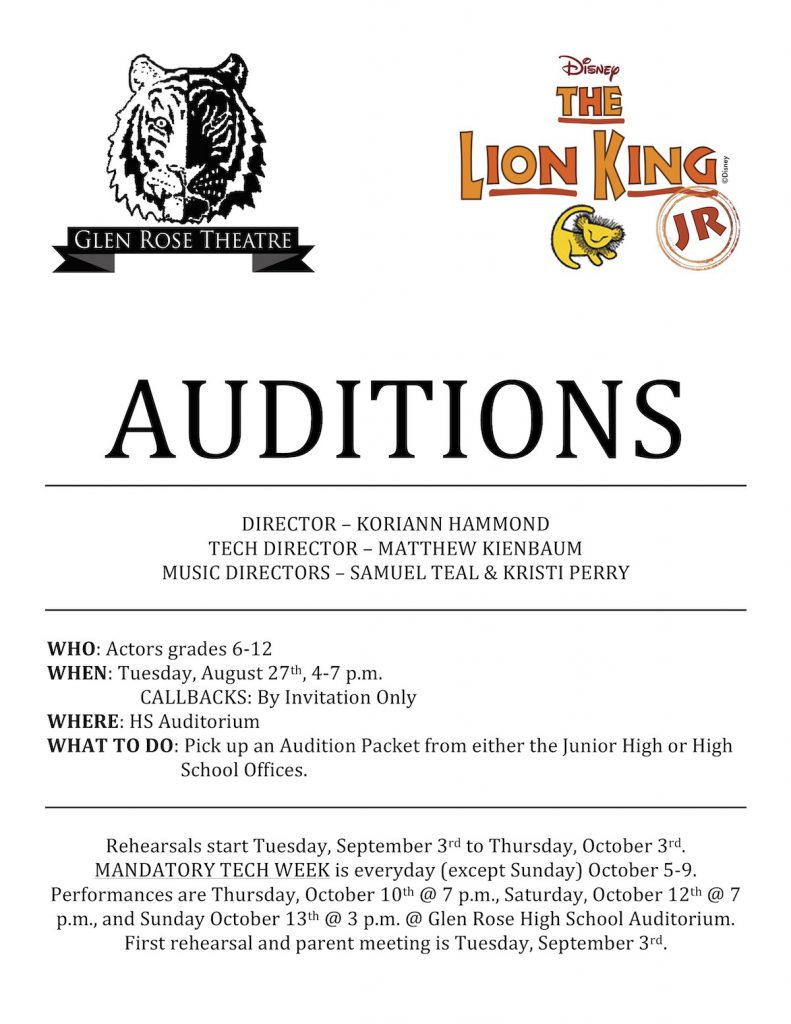 Picture of Auditions Announcement for Lion King Jr Play