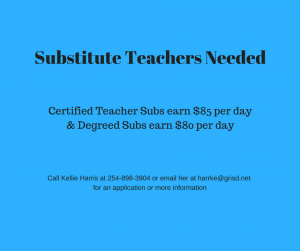 Picture of substitute tchrs needed