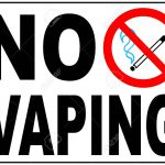 No vaping sign. Do not smoke electronic cigarette symbol. illustration isolated on white. Warning forbidden red icon for public places, ready to use