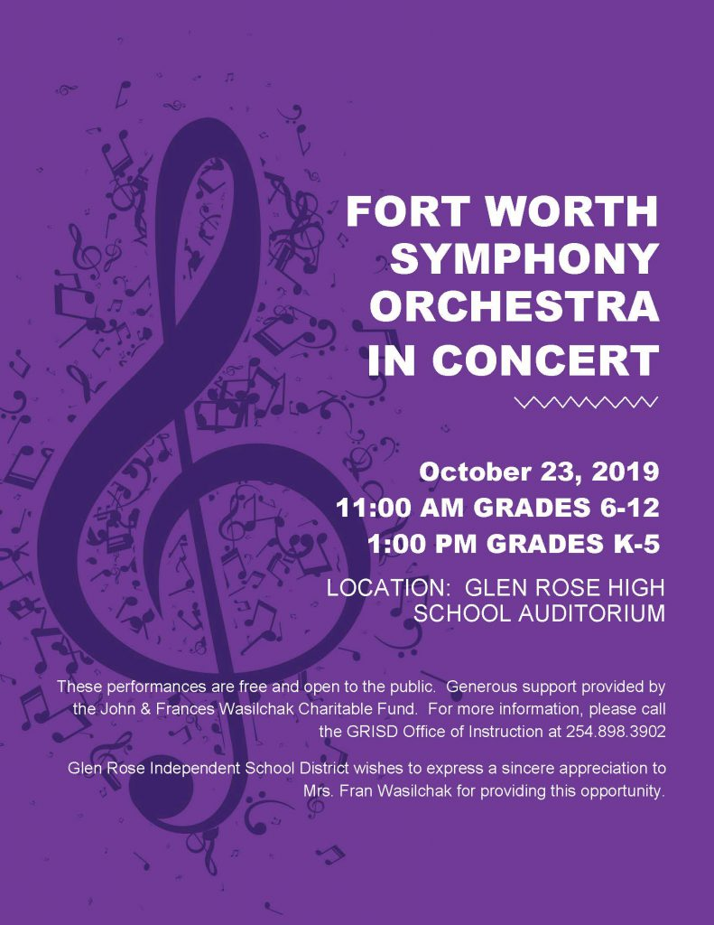 2019 Fort Worth Symphony Orchestra Flyer for GRISD performances