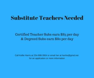 Substitute Teachers Needed Flyer