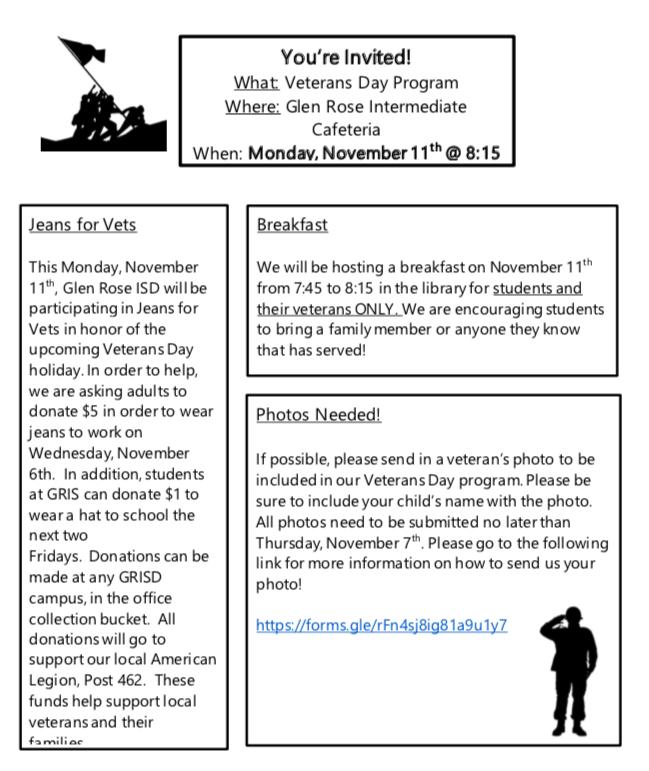 Veterans Day plans