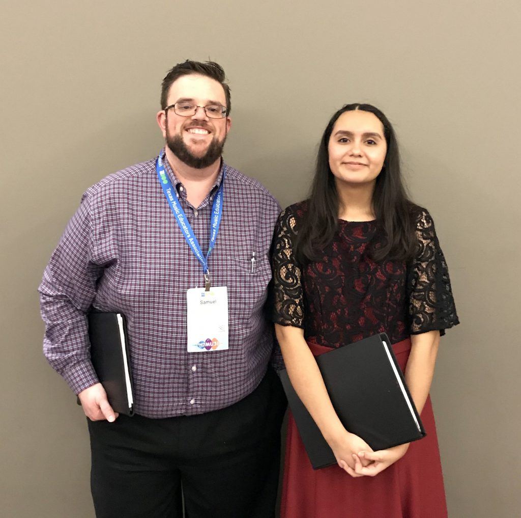 Picture of GRHS Choir Director Samuel Teal and GRHS student Avril Tovar